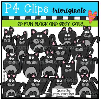 2D FUN Black and Grey Cat Shapes (P4 Clips Trioriginals)