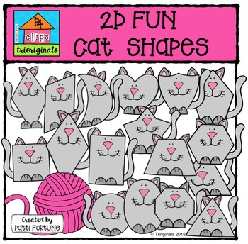 2D FUN Cat Shapes {P4 Clips Trioriginals Digital Clip Art}
