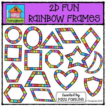 2D FUN Rainbow Frame Shapes{P4 Clips Trioriginals Digital Clipart}