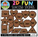 2D FUN Suitcase Shapes (P4 Clips Trioriginals) SHAPE CLIPART