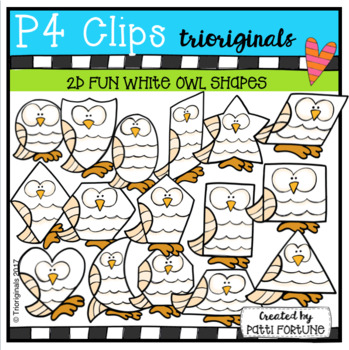 2D FUN White Owl Shapes (P4 Clips Trioriginals)