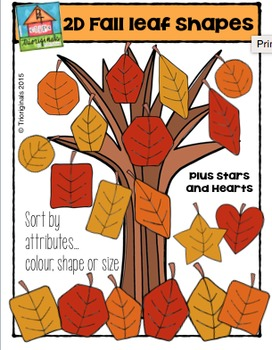 2D Fall Leaf Shapes {P4 Clips Trioriginals Digital Clip Art}