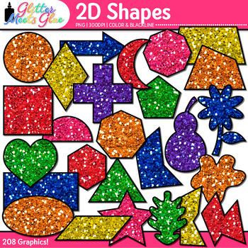 2D Shape Clip Art {Rainbow Glitter Math Manipulatives for Center Activities}