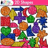 2D Shape Clip Art | Rainbow Glitter Math Manipulatives for Center Activities