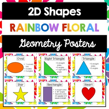 2D Shapes Posters | Geometric Shapes | Rainbow Floral
