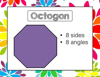 2D Shapes Geometry Posters Rainbow Floral