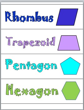2D Shapes Math Word Wall Cards and Activity Cards