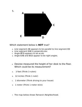 Geometry and Measurement Assessment *Editable