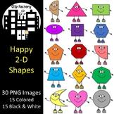 Happy 2D Shapes Clip Art