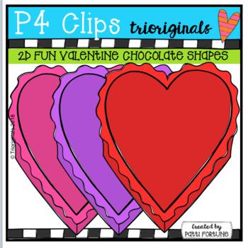 2D Heart Chocolate Shapes {P4 Clips Trioriginals Digital Clip Art}