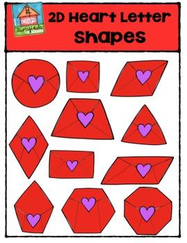 2D Heart Letter Shapes {P4 Clips Trioriginals Digital Clip Art}