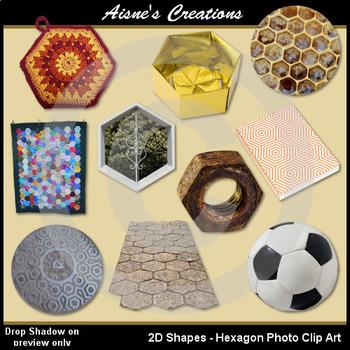 2D Hexagon Shapes Real Photo Clip Art