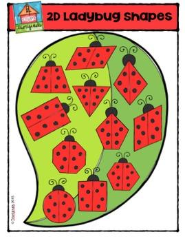 2D FUN Ladybug Shapes {P4 Clips Trioriginals Digital Clip Art}