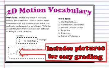 2D Motion Vocabulary for Interactive Notebooks