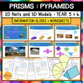 2D Nets, 3D Prisms and Pyramids Slides and Worksheets