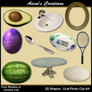 2D Oval Shapes Real Photo Clip Art