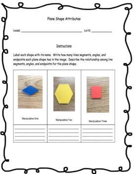 2D Plane Shape Attributes Using Manipulatives