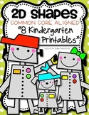 2D {Plane} Shapes Printables for Kindergarten Common Core Math