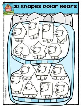 2D Polar Bear Shapes  {P4 Clips Trioriginals Digital Clip Art}