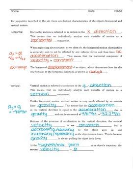 2D Projectile Motion Notes