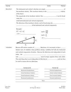 2d projectile motion notes by i heart physics teachers pay teachers. Black Bedroom Furniture Sets. Home Design Ideas