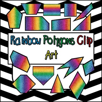 2D Rainbow Glitter Geometry Shapes - Polygons - Math Clip art 15 PNG Images