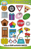 2D Real World Shaped Objects Clipart {Zip-A-Dee-Doo-Dah Designs}