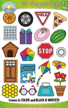 2D Real World Shaped Objects Clip Art — Includes 40 Graphics!