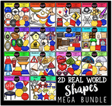 2D Real World Shapes Clip Art Mega Bundle {Educlips Clipart}