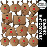 2D Rudolph Shapes {2D Shapes Holiday Clipart}