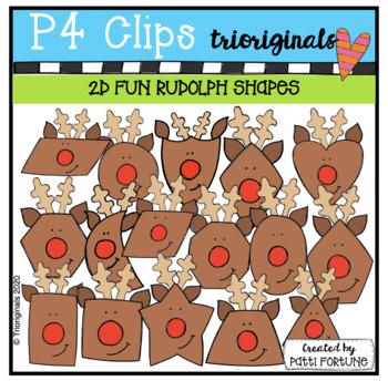 2D Rudolph Shapes {P4 Clips Trioriginals Digital Clip Art}