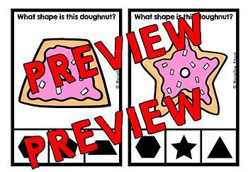 2D SHAPE ACTIVITIES KINDERGARTEN (DOUGHNUT RECOGNITION CENTER CLIP CARDS)