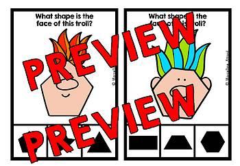 2D SHAPE ACTIVITIES KINDERGARTEN (TROLLS FACE RECOGNITION CENTER CLIP CARDS)