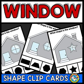 2D SHAPE ACTIVITIES KINDERGARTEN (WINDOW SHAPE RECOGNITION CENTER CLIP CARDS)