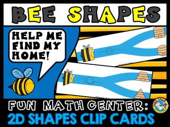 BEE THEME 2D SHAPES CENTER: 2D SHAPES CLIP CARDS: FLAT SHAPES ACTIVITY