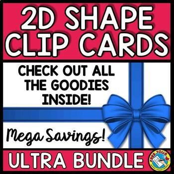 2D SHAPES ACTIVITIES KINDERGARTEN (RECOGNITION CLIP CARDS BUNDLE)