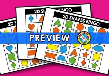 2D SHAPES ACTIVITY PRESCHOOL, KINDERGARTEN FLAT SHAPES GAME (2D SHAPES BINGO)