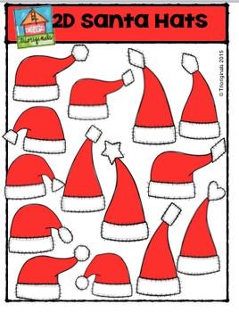 2D Santa Hat Shapes {P4 Clips Trioriginals Digital Clip Art}