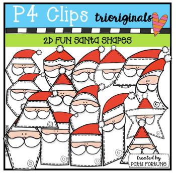 2D Santa Shapes {P4 Clips Trioriginals Digital Clip Art}G