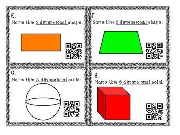 2D Shape & 3D Solid Math Station Task Cards