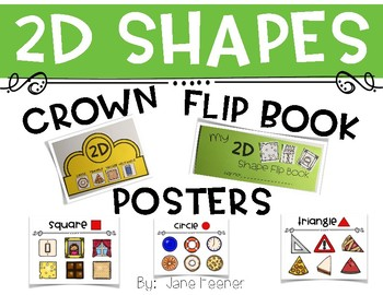2D Shape Activities - Crown, Posters, and Flip Book