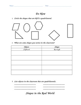 2D Shape Attributes Classwork (Common Core Aligned)