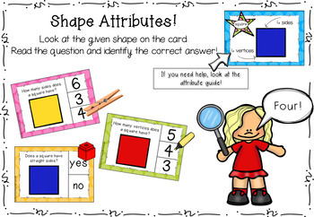 2D Shape Attributes Clip Cards, Task Cards