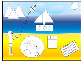 2D Shape Beach Picture Cut And Stick