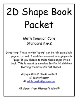 2D Shape Book PACKET
