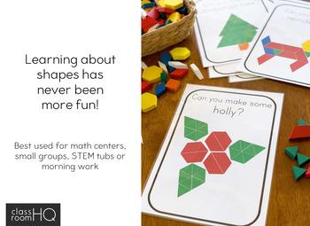 2D Shape Christmas Pattern Challenge Cards