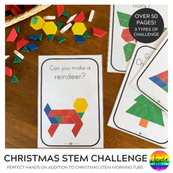 2D Shape Christmas Pattern Challenge Cards