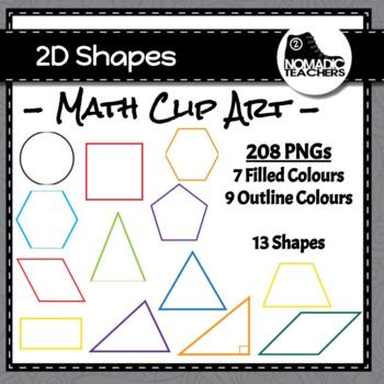 2D Shape Clip Art - 208 PNGs Colour and Black, Filled and Outline Only