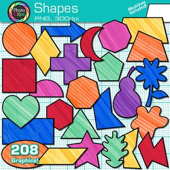 2D Shape Clip Art {Rainbow Math Manipulatives for Center Activities}