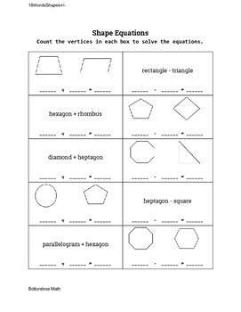 2D Shape Equations: Shapes and Shape Names 0-8 Sides